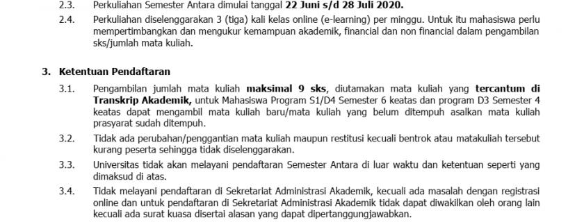 Kuliah Semester Antara Tahun Akademik 2019/2020 Universitas Widyatama